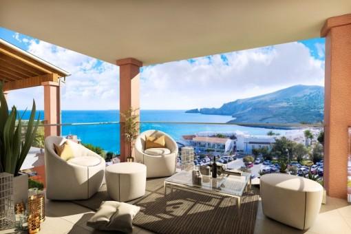 Schönes Neubauapartment in luxuriöser Anlage in der Cala Mesquida mit phantastischem Meerblick und Dachterrasse