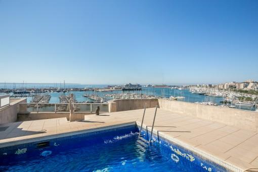 Terrasse mit Pool und spektakulären Hafenblick