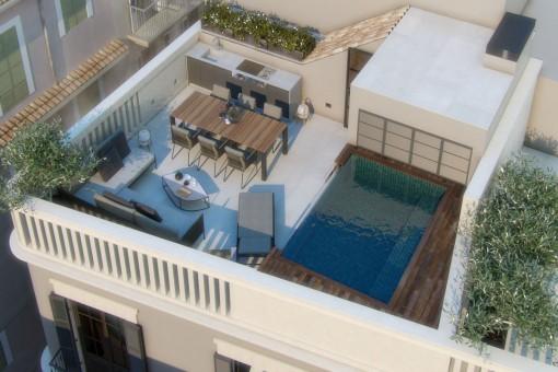Spektakuläres Projekt für den Bau eines hochwertigen Stadthauses im Herzen der Altstadt von Palma
