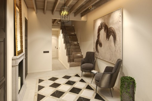 Treppenaufgang zu den oberen Stockwerken
