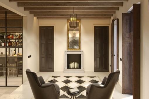 Sitzbereich mit Kamin
