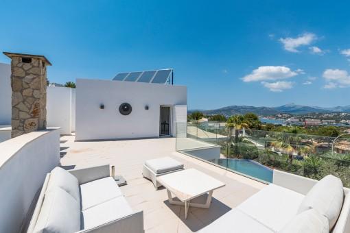 Loungebereich auf der Dachterrasse