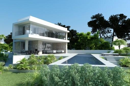 Villa im Bau auf einem Grundstück in erster Meereslinie in El Toro