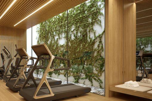 Der Wohnkomplex bietet einen Fitnessraum