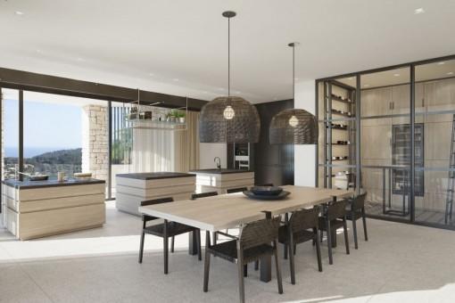 Essbereich mit Blick auf die offene Küche