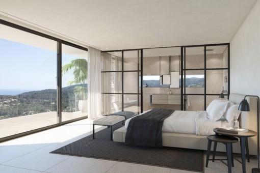 Schlafzimmer mit Badezimmer en Suite und herrlichem Meerblick