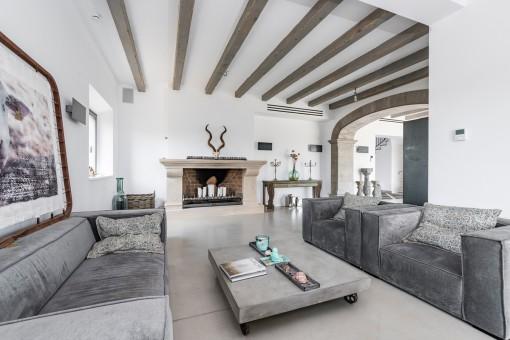 Wohnbereich mit hohen Decken und Kamin