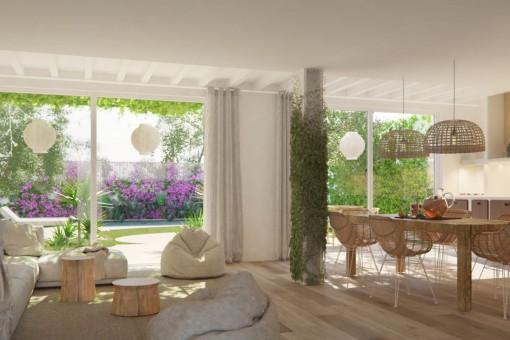 Stilvoll renovierte Erdgeschosswohnung mit Garten und Pool im Zentrum von Santa María