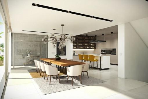 Offene Küche mit Zugang zum Essbereich