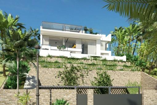 Moderne Villa mit Panoramafenstern in ruhiger Lage