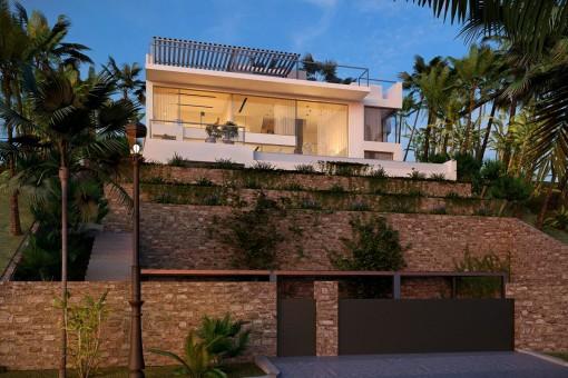 Romantische Villa mit einer 15 Meter langen Fensterfront