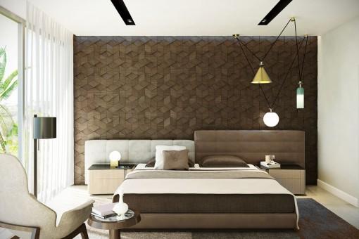 Modernes und helles Schlafzimmer mit Doppelbett