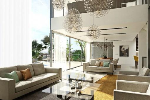 Lichtdurchfluteter Wohnbereich mit Zugang zur weitläufigen Terrasse