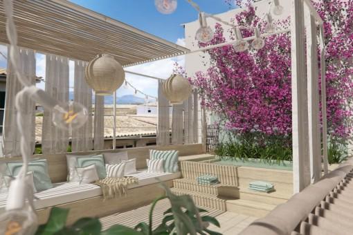 Wohnung im mallorquinischen Stil im Zentrum von Santa María mit Sonnenterrassen und Pool