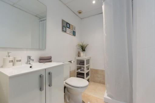 Bezauberndes Badezimmer mit Dusche