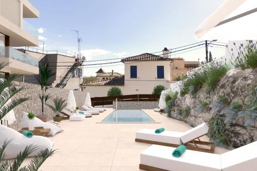 Ansicht der Dachterrase mit Swimmingpool