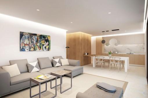 Offene Küche und Wohnbereich