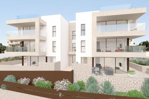 Schicke Neubau-Wohnung mit 3 Schlafzimmern, Terrasse und Garten, nur 100 Meter vom Strand Cala Nova entfernt