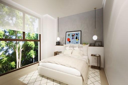 Hauptschlafzimmer mit Panoramafenstern