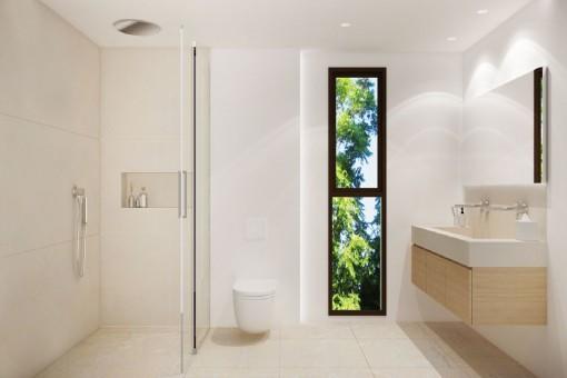 Moderndes Badezimmer mit ebenerdiger Dusche