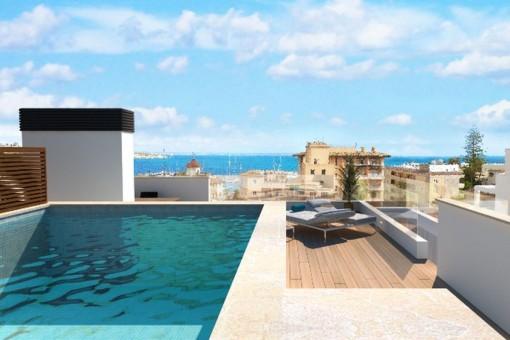 Fantastisches Neubau-Penthouse in Standnähe mit Meerblick und eigenem Pool auf der Dachterrasse in San Augustin