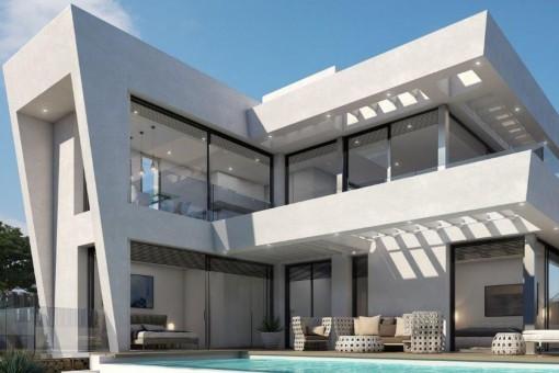 Moderne Designervilla in erster Meereslinie in Cap des Moro