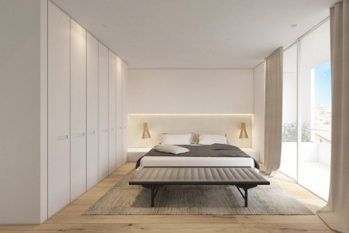 Geräumiges Schlafzimmer mit Panoramafenstern