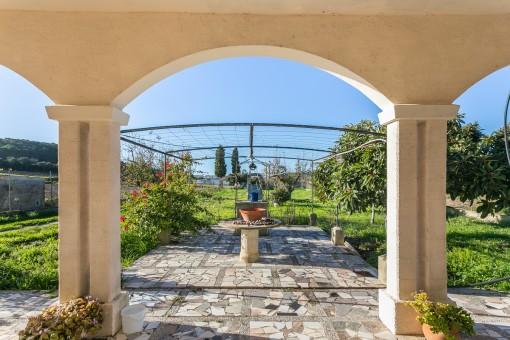 Wundervoller, sonniger Gartenbereich der Finca