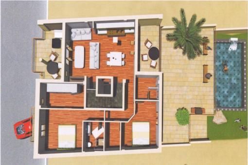 Plan des Apartments