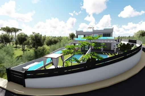 Neubaudoppelhaushälfte in Tolleric mit Blick auf die Bucht von Palma
