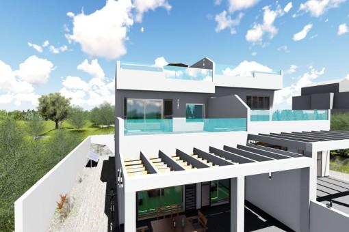 Das Haus verfügt über 3 Terrassen