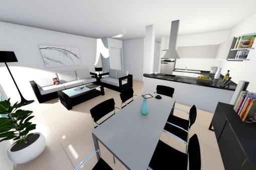 Lichtdurchfluteter Wohn- und Essbereich mit offener Küche