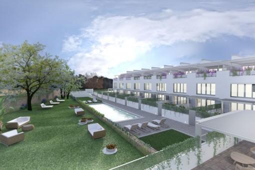 Neubauprojekt: exklusives Reihenhaus mit Pool und Terrassen in Puerto d'Andratx