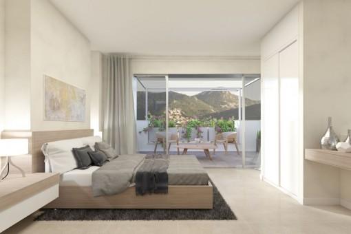 Mögliche Ansicht des Schlafzimmers mit Bergblick