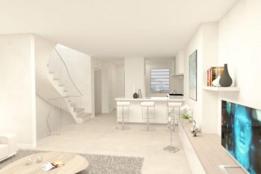 Moderne Küche mit Treppenaufgang