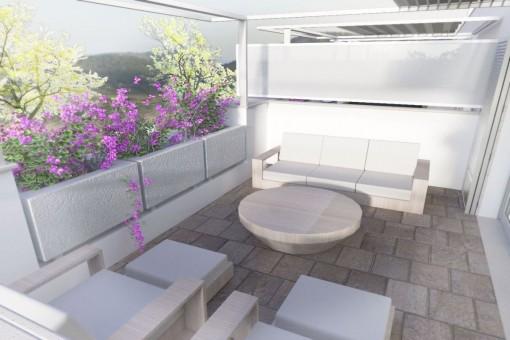 Terrasse mit gemütlicher Chill-out Lounge