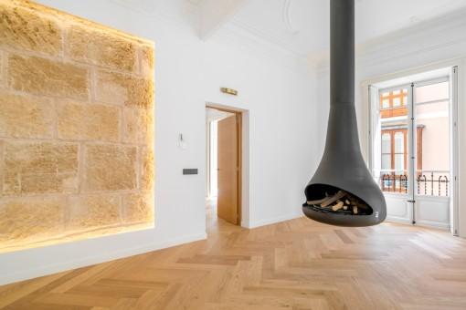 Wohnbereich mit außergewöhnlichem Kamin