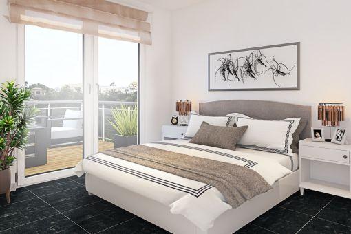 Wundervolles Schlafzimmer mit Doppelbett