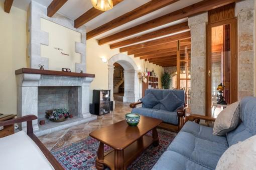 Wundervoller Wohnbereich mit Kamin