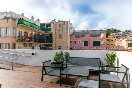 Chill- out Lounge auf der Dachterrasse