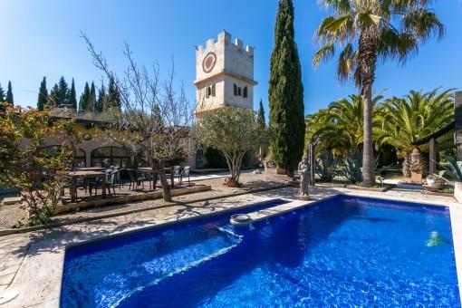Ehemaliges Ayurveda Finca-Anwesen mit Gästehäusern, Pool und fantastischem Weitblick nahe Montuiri