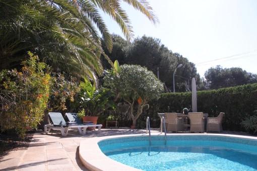 Der Poolbereich verfügt über Sonnenliegen