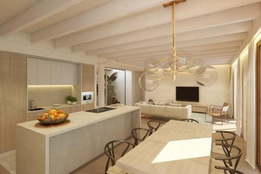 Großzügiger Essbereich und voll ausgestattete Küche