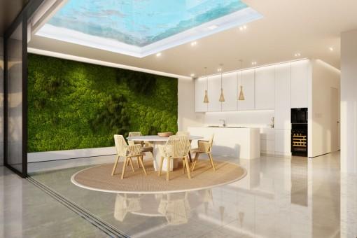 Lichtdurchfluteter Essbereich und offene Küche