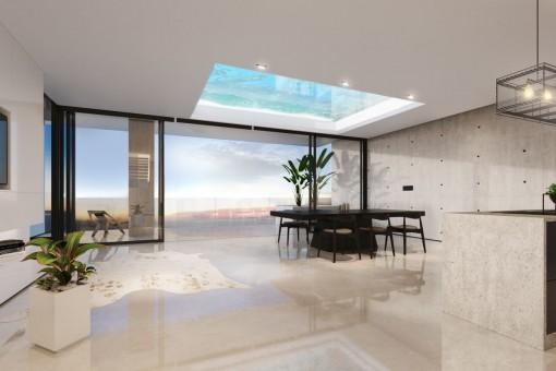 Luxus 3 SZ Erdgeschoss Apartment mit Terrasse in einem Neubauprojekt in Nou Llevant, nahe Palma