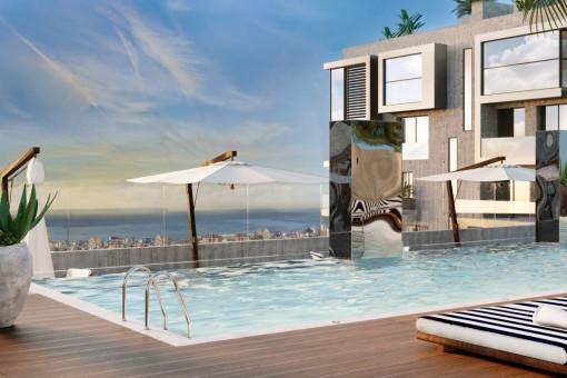 Luxuriöses Neubau 2 SZ Apartment mit großer SW Terrasse und Jacuzzi in Nou Llevant in Palma