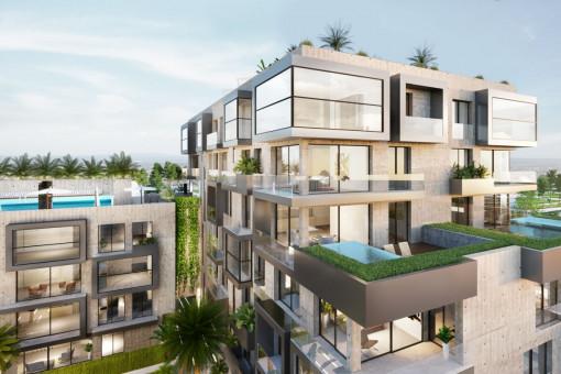Traumhaftes Duplex 3 SZ Neubau Penthouse mit Jacuzzi und Meerblick in luxuriöser Anlage in Nou Llevant, Palma