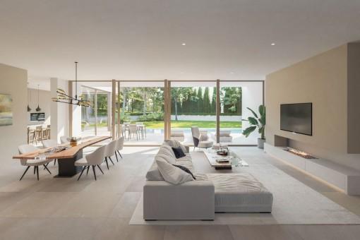 Wohn-und Essbereich mit großer Fensterfront