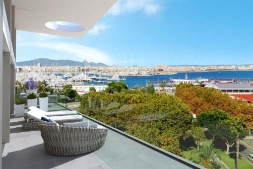 Luxuswohnung in erster Linie mit Blick auf den Hafen von Palma