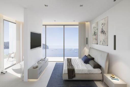 Gemütliches Schlafzimmer mit Ausblick